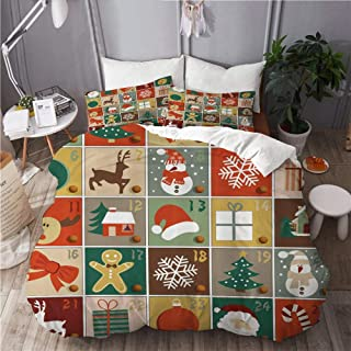KUDOUXIA Funny Christmas Holiday Season Patterns Santa Rudolf The Reindeer Gingerbread Man Candy Cane Snowflakes Snowman Xmas Tree Decorative Bedding Set 1 Duvet Cover With 2 pillow cases Twin/Twin XL