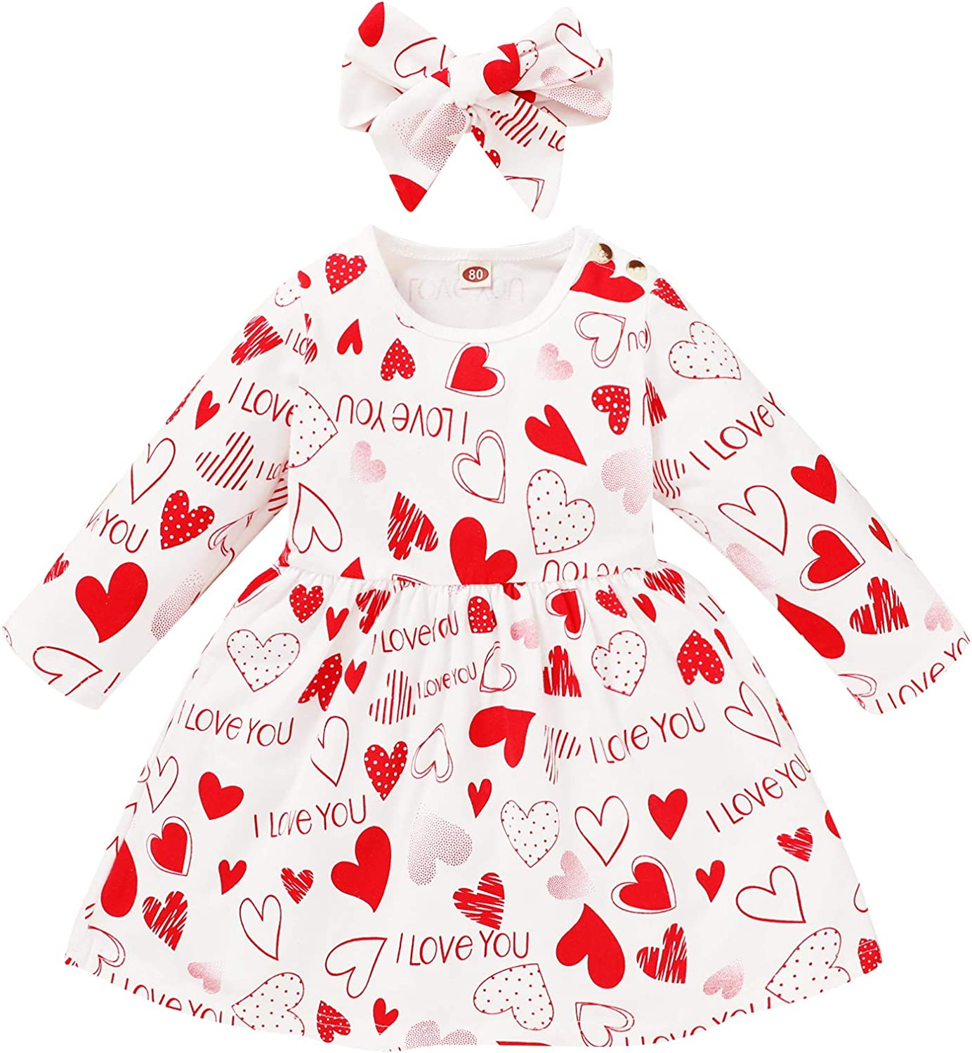 Baby Girls Valentines Day Long Sleeve Romper Jumpsuit Heart Printed Skirt Outfits