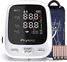 Blood Pressure Monitor Upper Arm, PRYMAX Accurate Automatic Digital BP Machine with Large Cuff 8.7 to 16.5in, LED Display, 2 Users 180 Sets Memory, 4 AAA Batteries Included, FDA Approved