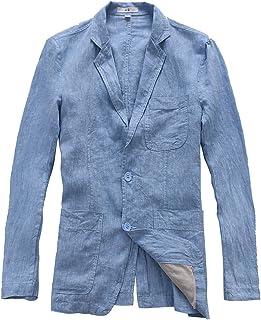 Insun Men's Casual Linen Notch Lapel 2 Button Light Weight Blazer Jacket