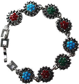 AyA Fashion Multicolor Black Metal Stone Studded Bracelet for Women