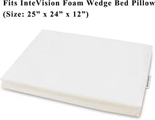 InteVision 400 Thread Count, 100% Egyptian Cotton Bed Wedge Pillowcase; Replacement Cover Designed to Fit the 12