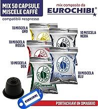 Mix 50 Cápsulas Caffè Borbone Respresso - 10 Miscela Nera - 10 Miscela Rossa - 10 Miscela Blu - 10 Miscela Oro - 10 Miscela Dek - Compatibles Nespresso con 1 Exclusivo Llavero Eurochibi®