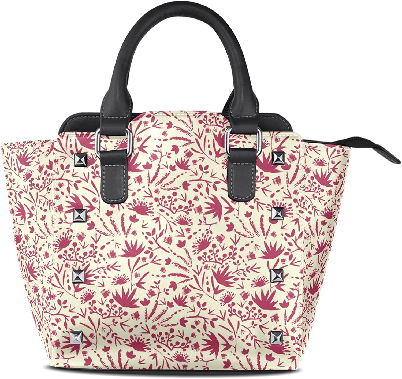 My Little Nest Women's Top Handle Satchel Handbag Abstract Flowers Plants Ladies PU Leather Shoulder Bag Crossbody Bag