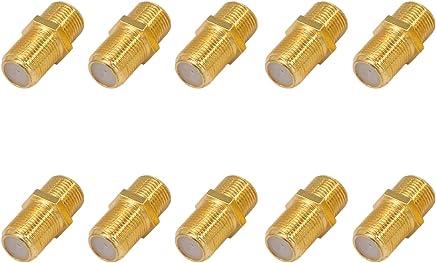 10x F-Verbinder Buchse/Buchse Vergoldet HQ für F-Stecker jeder Größe 4-8,2mm für Koaxial Antennenkabel Sat Kabel BK Anlagen
