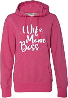 Womens Wife Mom Boss Mom Life Mother's Day Glitter Hoodie