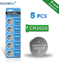 ?5-Year Warranty? CELEWELL CR2025 Battery Special for FOB Remote High Capacity 170mAh 3V Lithium Coin Button Cell 5 Count
