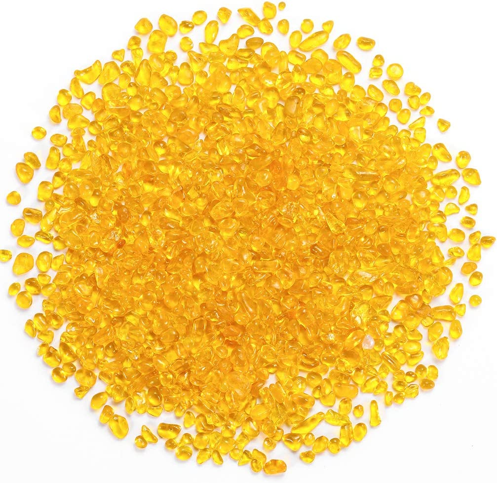 Bofanio 1.1 Miami Mall lb Yellow Glass Irregula Chips Pieces Crushed Stones In a popularity