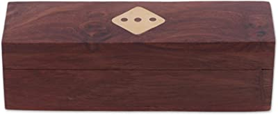 NOVICA Handmade Brown Brass and Wood Dice Set 'Delightful Chance' (Set of 5)