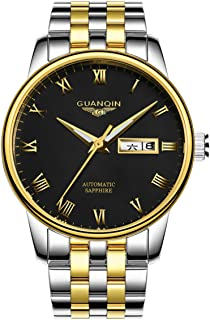 GUANQIN Men Analogue Display Sport Popular Brand Automatic Self-winding Mechanical Stainless Steel Leather Business Wrist ...