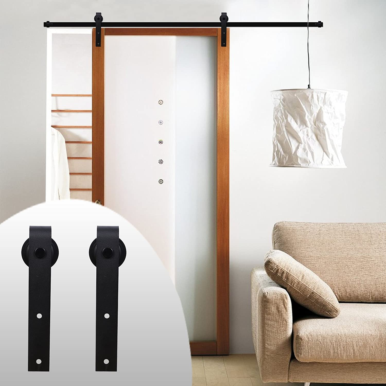 LWZH Now on sale 6.6FT Sliding Wood Barn Door Kit Single for Steel Sale special price Hardware