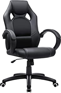 SONGMICS Office Chair, Gaming Chair, Desk Chair, Computer Chair, Swivel Chair with Tilting Mechanism, Work Chair, Height Adjustable, Black OBG56B