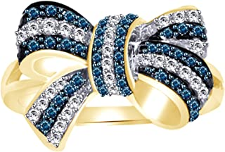 Blue & White Natural Diamond Bow Ring In 10k Solid Gold (0.5 Cttw)