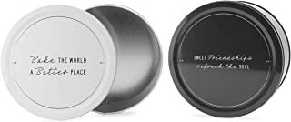 Decorae Cookie Tins (Set of 2, Black and White); Round Baking and Cake Tins for Special Occasion and Holidays, 7.75-Inch Wide by 3.6-Inch Tall