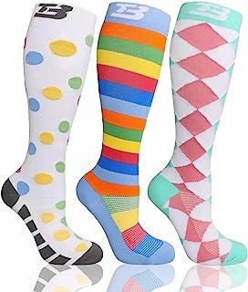 3 PCS Plus size compression socks knee high wide calf...