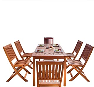 VIFAH V98SET4 Outdoor Malibu Wood 7-Piece Dining Set, Natural Wood Finish, 59 by 31.5 by 29-Inch