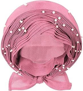 10 Types Already wear African Gele Headwear African gele already heatie Aso oke headtie with beads for women Fabric (Pink)