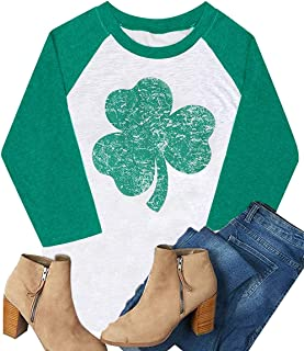 Graflying St. Patrick's Day Green Lucky Shamrocks Distressed Print Women T-Shirt Raglan Long Sleeve Blouse Tops Tees Tees