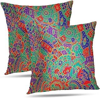 Lfff Fundas De Almohada Psicodélicas De Verano, Abstracto Psicodélico Boho Tribal Colorido Doodle Throw Pillows Fundas De Colchón 2Pcs 18 'X18'