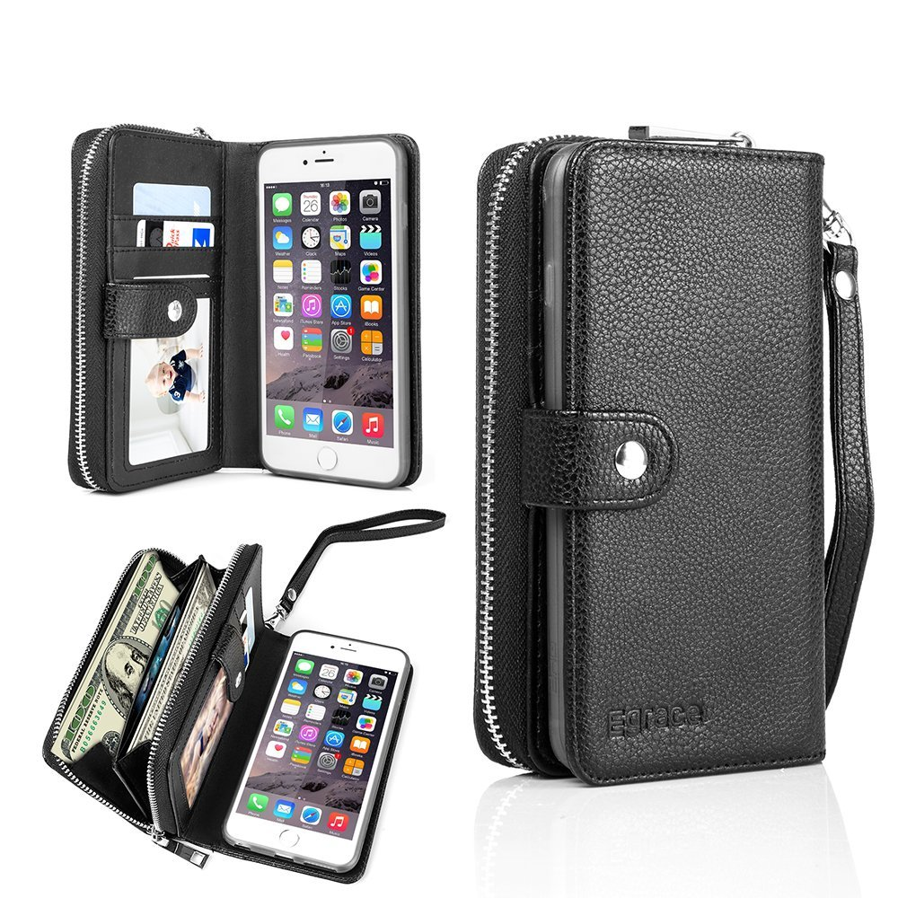 iphone 6plus wallet cases amazon comegrace pu leather magnet knocked down wallet case with stand flip for iphone 6 plus