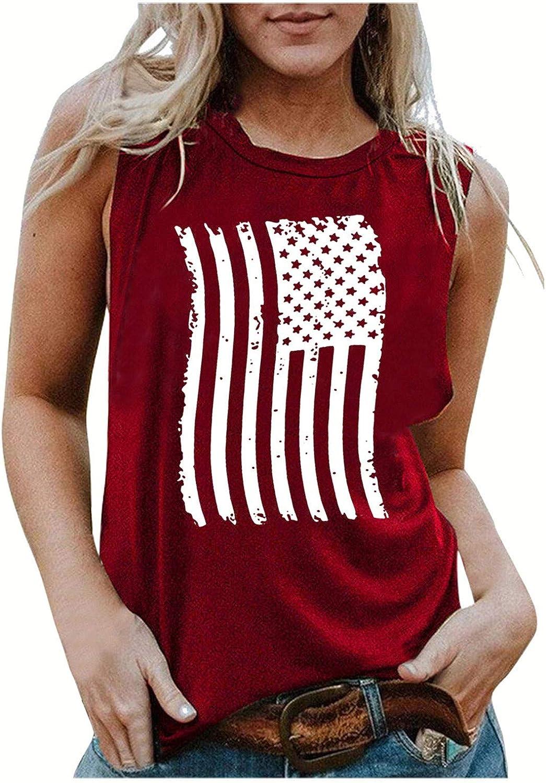 Aukbays Womens Tank Tops 4th of July Patriotic Shirt USA Flag Stars Stripes Print Sleeveless T-Shirt Tees Crop Tops