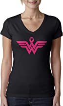 Breast Cancer Awareness Pink Ribbon Superhero Logo Ladies V-Neck T-Shirt