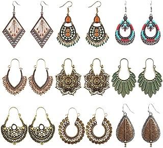 6-8 Pairs Boho Vintage Dangle Bead Tassel Earrings Set—National Style Metal Hollow Pendant Dangle Earrings Set for Women Girls Gift Jewelry