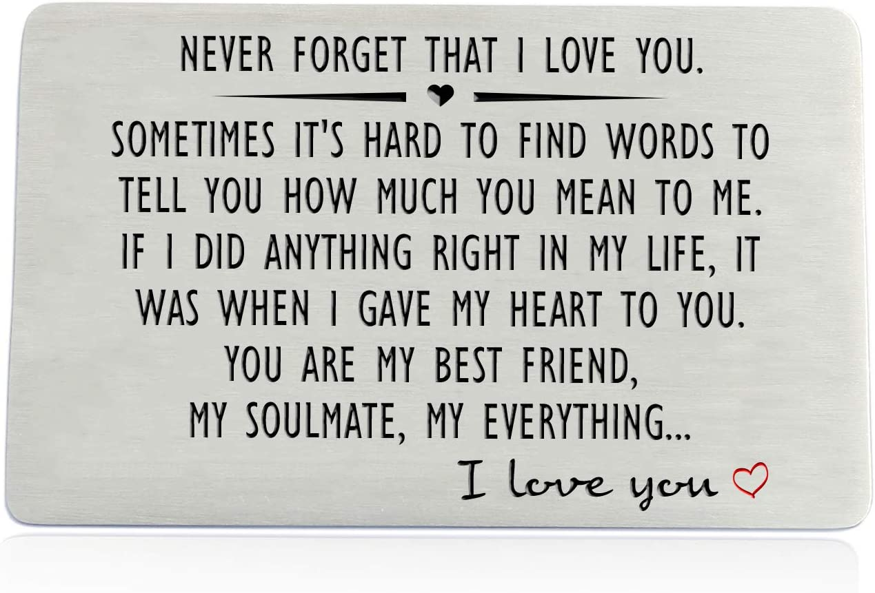 Anniversary Gifts for Men or Women - Never Forget That I Love You, Engraved Wallet Insert for Boyfriend Husband Him, Birthday Wedding Deployment Gifts Cards for Couples