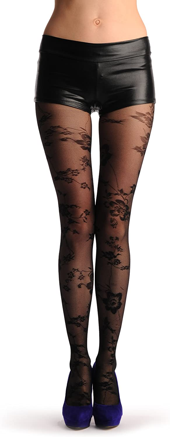 Transparent Black Mesh With Black Opaque Flowers - Tights