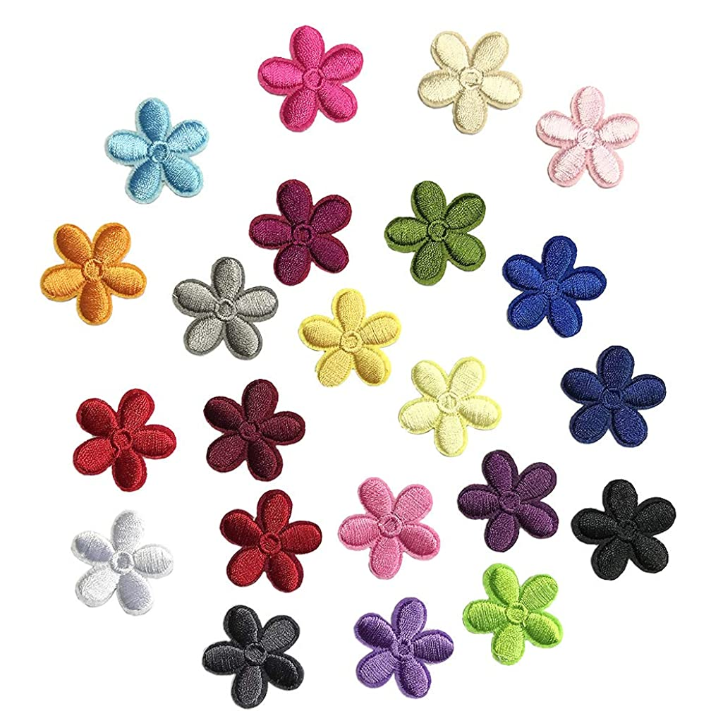 Juland 23PCS Mini Sun Flower Embroidered Patches Self Adhesive Embroidered Custom Backpack Patches for Men, Women, Boys, Girls, Kids