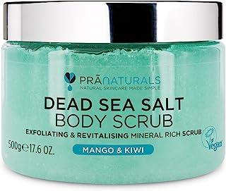 PraNaturals Erfrischendes Körperpeeling Body Scrub aus dem Toten Meer 500g 100% Bio nahrhaftes Hautpeeling Salzpeeling rei...