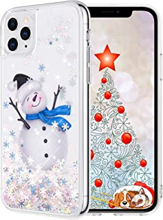 Maxdara Christmas Case for iPhone 11 Pro Max, Merry Christmas Snowman Pattern Glitter Liquid Bling Sparkle Cute Case for Girls Children Women Gifts Case for iPhone 11 Pro Max 6.5 inches(Snowman)