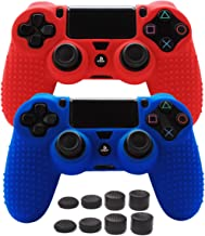 PS4 Controller Grips,Pandaren Studded Anti-Slip Silicone Cover Skin Set Compatible for PS4 /Slim/PRO Controller(Skin x 2 + FPS PRO Thumb Grips x 8)(Red,Blue)