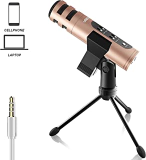 SIGSIT Music Recording Microphone with Desktop Tripod,Condenser Microphone Integrated Reverb Sound Effects for Phone Recording,Gaming,Podcasting and Karaoke Singing
