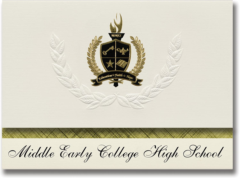 Signature Ankündigungen Mitte Early College High School (Buffalo, NY) Graduation Ankündigungen, Presidential Stil, Elite Paket 25 Stück mit Gold & Schwarz Metallic Folie Dichtung B078VDQ6QM   | Lebendige Form