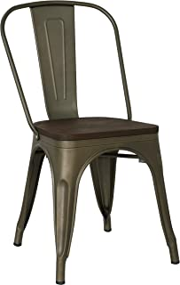 Poly and Bark Trattoria Kitchen and Dining Metal Side Chair with Elm Wood Seat in Bronze