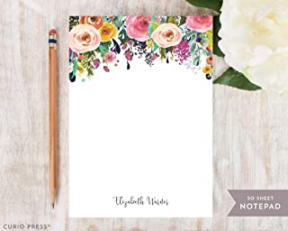 MULTI FLOWER NOTEPAD - Personalized Hot Pink Colorful Pretty Womens Mom Grandma Aunt Co-worker Stationery/Stationary Note Pad