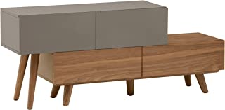 Marque Amazon -Rivet District - Meuble multimédia extensible pour TV et consoles, style vintage, Noyer et vernis gris
