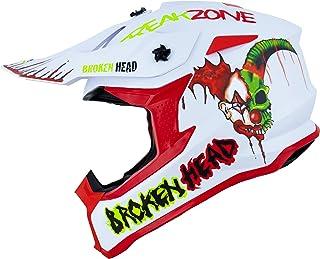Broken Head FreakZone Cross-Helm Weiß-Grün-Rot matt – Motocross – MX – Quad – Supermoto L 59-60 cm