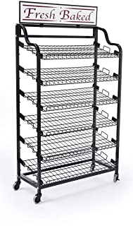 Displays2go Standing Baker's Rack with 2-Optional Sign Holders, Wire Storage Rack and Wheels, Black