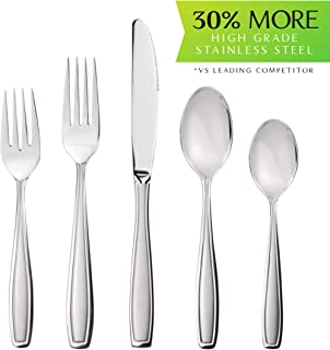 Radley & Stowe 20-Piece Flatware Solid Stainless Steel Silverware Set (Designer Grade with Matte Finish Handle), 4 Table Settings