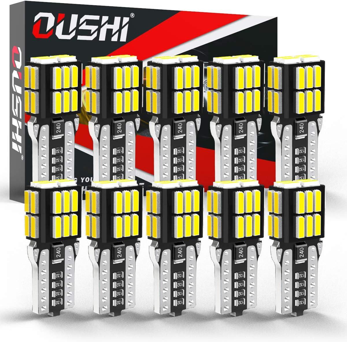 W5W T10 LED Canbus Bombilla, OUSHI 194 168 2825 12V 6500K Xenón Blanco Reemplazo Para El Interior Del Automóvil Cúpula Lateral Placa De Número Luz De Reserva De Estacionamiento (Paquete De 10)