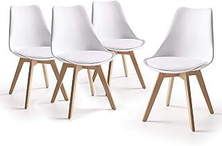 Home Heavenly® - Pack 4 sillas Comedor salón, Silla diseño nórdico con Asiento Acolchado, TULIPA en Blanco o Gris (Blanco)