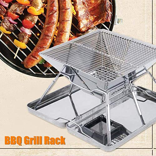 ILUVBBQ Barbecue à Charbon de Bois Grill Rack en Acier Inoxydable Pliant BBQ Barbecue Accessoires Portable Home Kitchen Camping en Plein air Cuisine Outils