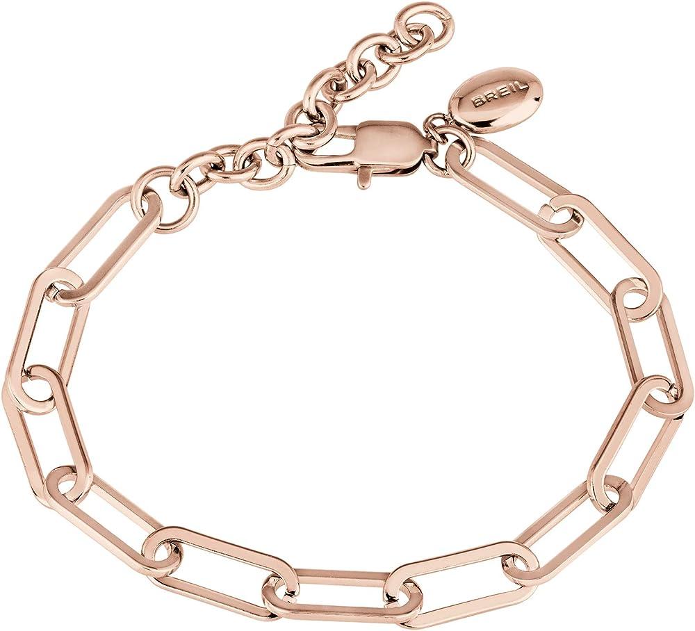 Breil bracciale da donna collezione join up in acciaio lucido colorato rose gold