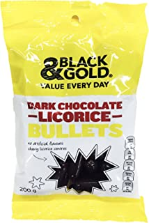 Black & Gold Dark Chocolate Licorice Bullets 200g.