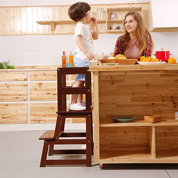 UNICOO Kids Step Stool Kids Learning Stool Children Kitchen Step Stool With Safety Rail Solid Wood Construction Perfect For Toddlers Espresso 01