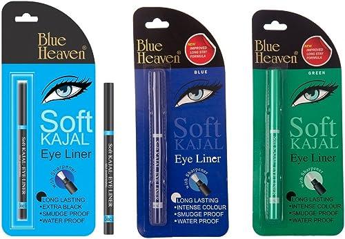 Blue Heaven Combo of 3 Pc Soft Kajal(Black),Soft Kajal(Blue),& Soft Kajal(Green) product image