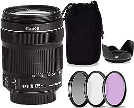 Canon EF-S 18-135mm f/3.5-5.6 is STM Lens w/Tulip Lens Hood + Lens Case & 3-Piece Filter Kit (White Box, New)