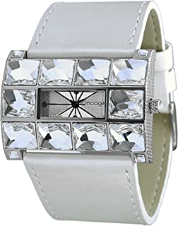 Moog Paris Crystal Women's Watch with Silver/Gold/Rose Gold Dial, Dark Gray/Gold/White/Brown Genuine Leather Strap & Swarovski Elements